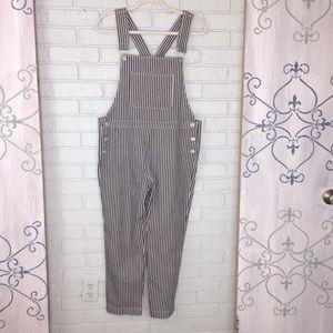 Storia Cropped Striped Overalls Size Medium
